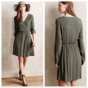 Anthropologie Maeve Green Long Sleeve Wrap Dress